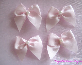 """1"""" Pink Satin Ribbon Bows with Pearl Bead for Sewing, Crafting, Doll shoes, Embellishment, Invitation Cards, 3/8"""" Ribbon Wide, 30, 50 pieces"""