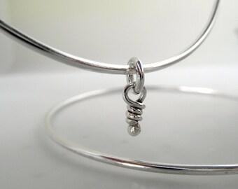 Sterling Silver Knots Bangle - Rustic Bracelets Little Knots Charm Bangles - Organic Bangles Knots Bangle Stacking Bracelets Silver Bangles