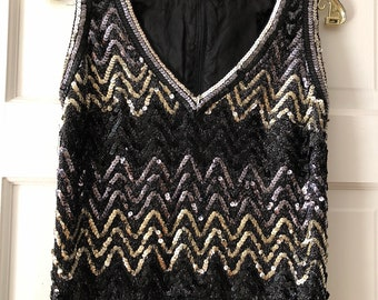1970's Sequin Disco Sweater Vest-Tunic