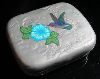 Hummingbird Metal Tin, Mini Box, Gift Box, Polymer Clay Metal Tin, Jewelry box, Silver Box, Mom Gift, Gift for Her, Gift for Him