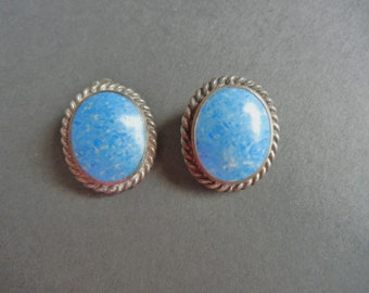 vintage Sterling denim lapis earrings, sterling lapis earrings, sterling denim sodalite, sterling denim lapis mexican, sterling lapis