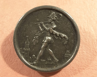Metal button of the Pied Piper - English 1950's.