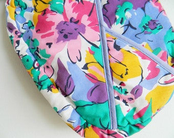Vintage Floral Clutch or Toiletry Bag / Bright Floral Purse / Vintage Floral Make Up Bag