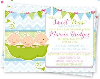 Triplets sweet pea printable invitation 2 boys 1 girl 5x7 boy triplets sweet pea printable invitation 4x6 or 5x7 custom baby shower invitation sweet filmwisefo Choice Image