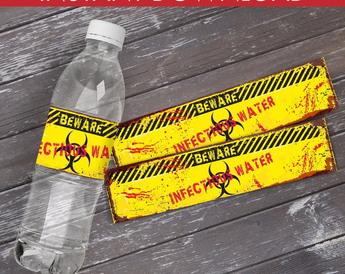 Zombie Bottle Wrapper/Labels - Infectious Water, Zombie Party, Halloween Party, Birthday, Costume Party | Instant Download PDF Printable