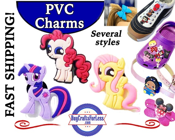 PVC Charms, Lil' Pony,  * 20% OFF 4 * 99cent Shipping * For Shoes, Hair, Pins-Choose back-Button, Pin, Slider, Hair Clip, Velcro