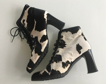Victorian style cowhide lace up ankle boots