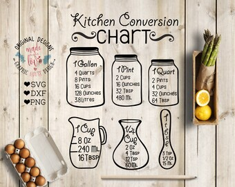Kitchen svg, Kitchen Measurement Chart, Kitchen conversion chart svg, measuring cup svg, kitchen cut files, measuring jars svg, kitchen dxf