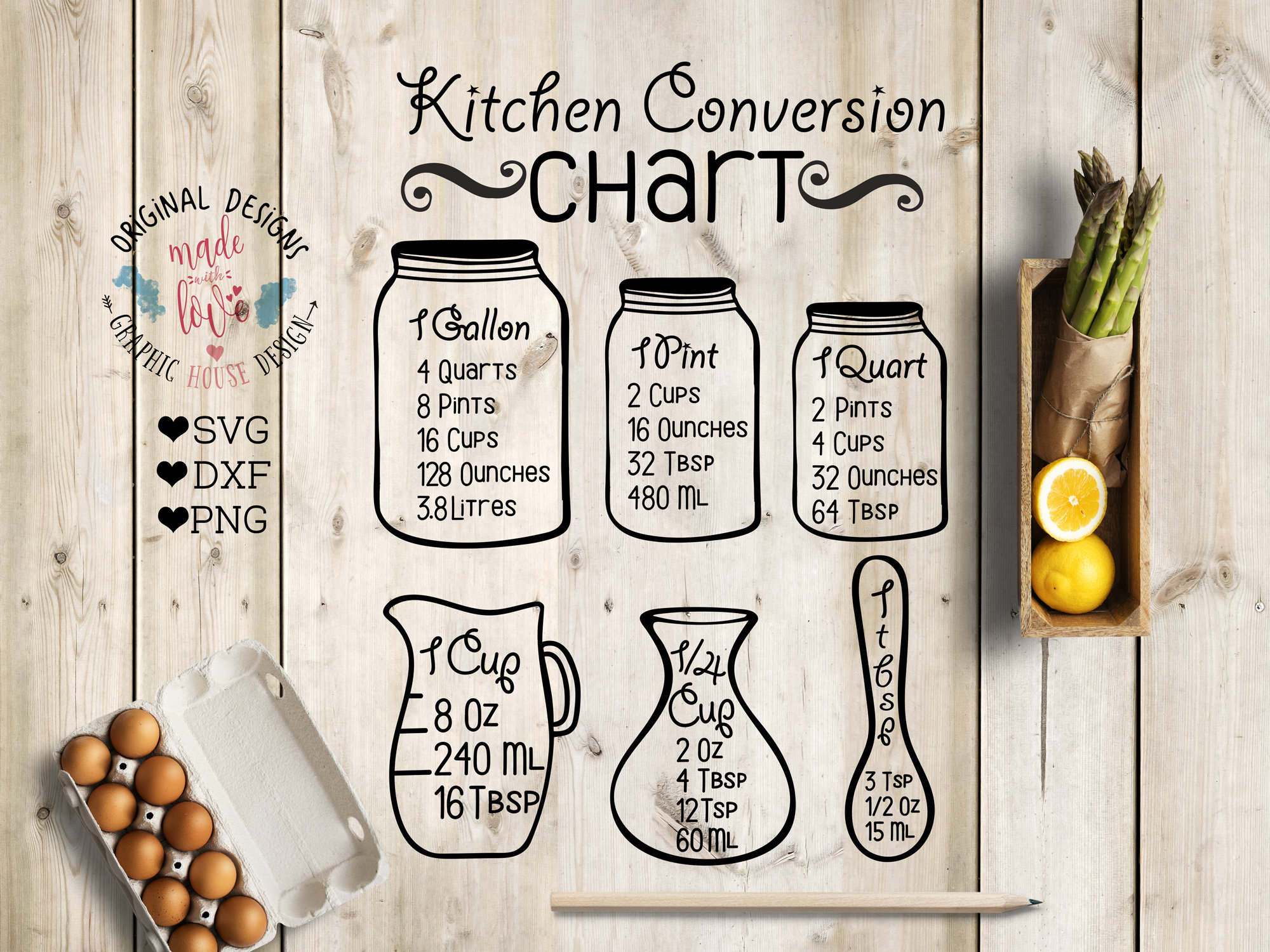 Download Kitchen svg Kitchen Measurement Chart Kitchen conversion