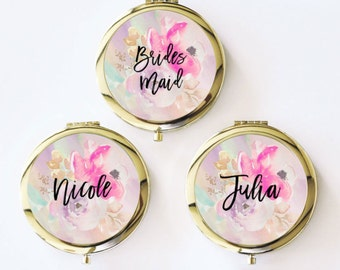 Bridesmaid Mirror Compacts - Personalized Bridesmaid Gifts Unique Bridesmaid Compact Mirror Personalized Gifts for Women (EB3166FL)