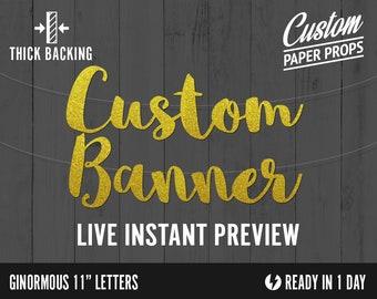 Custom Glitter Banner - Ginormous Size Extra Large Letters - cardstock premium cursive script decoration party