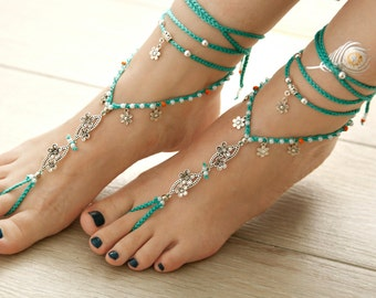 Turquoise Barefoot Sandals. Tibetan Silver Anklet. Gift For Her. Bride Anklet. Beach Wedding