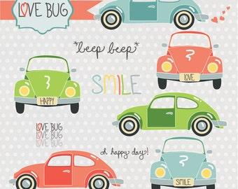 Instant Download -Love Bugs: Digital Clipart Set