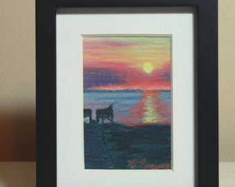 OBX Mini Painting, Original Pastel Painting, Sunset Outer Banks, Sunset Reflection Painting, OBX Sunset painting, Ocean Sound Pier, Beach