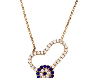 Heart necklace with zircon, heart & evil eye necklace, love necklace, zircon necklace, gift for her