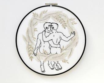 "Embroidery art ""Silver wreath"" / Embroidery hoop art/ Gay art"