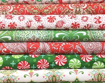 8 FQ Merry Mistletoe  Bundle ~ Merry Mistletoe Collection ~ Dena Designs for Free Spirit Fabrics
