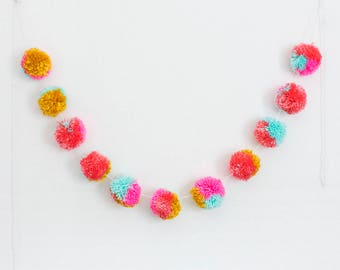Pink, Gold, and Teal Blue Pom Pom Garland