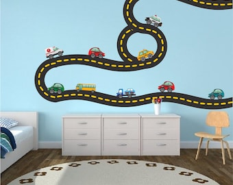 Car Tracks Decals, Race Road Track Wall Art Stickers, Kids Bedroom Car Tracks, Race Car Track Walls, Reusabel Cars Wall Art Stickers, b41