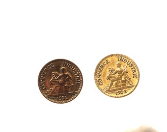 Very nice cuff links old French coins from 1922, 18 mm in diameter