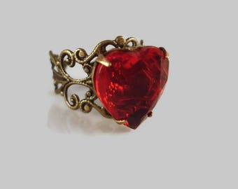 Red Heart Ring - Rhinestone Ring - Statement Ring - Red Heart Jewelry - Art Deco Heart Ring - Gift For Her