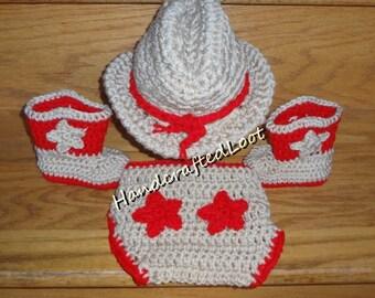 Newborn Baby Crochet Cowboy Hat Boots Photo Prop Set Outfit Star Diaper Cover Red Shower Gift Keepsake 0-3 Months