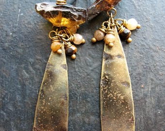 Hammered Whiskey Quartz, Tigers Eye and Indigo Gold Brass Drop Earrings