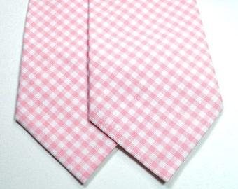 Pink Gingham Neckties Blush Gingham Neckties Blush Neckties Wedding Neckties, Pink Neckties, Light Pink Gingham Neckties, Mens Neckties
