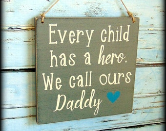 Dad Gift For Husband - Daddy Sign - Hero Plaque - Father's Day - Handmade Wooden Sign - Father Sign - Gift From Children - Dad Birthday