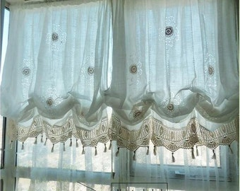 Sale: Shabby Chic Drawnwork Balloon Curtain, Pull-up Curtain, Crochet Lace Trim, French Pinch Pleat Drape, Drapery R002
