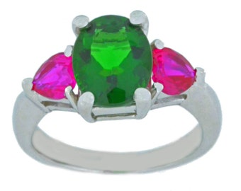 4 Ct Emerald Oval & Ruby Heart Ring .925 Sterling Silver Rhodium Finish
