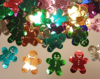 20 large assorted gingerbread man sequins / confetti  , 17 x 20 mm (1)