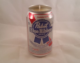 Pabst Blue Ribbon pbr Can Candle, YOU PICK SCENT! No Sharp Edges! Maine made
