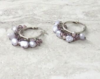 Lavender Hoop Earrings in Sterling silver- Light purple beaded hoop earring