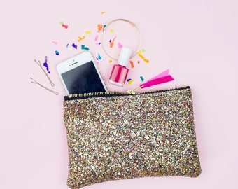 Golden Confetti Multi Glitter Party Bridesmaid Clutch Purse Make Up Bag.
