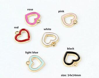 10PCS, 14x14mm, Enamel Charm, Heart Charm, Enamel Heart, Colorful Heart, Enamel Jewelry, Bracelet Charm, Craft Supplies, Gold Tone