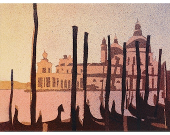 Watercolor painting of gondola boats on Piazza San Marco at sunset in medieval city of Venice- Italy, watercolor Venice landscape wall art