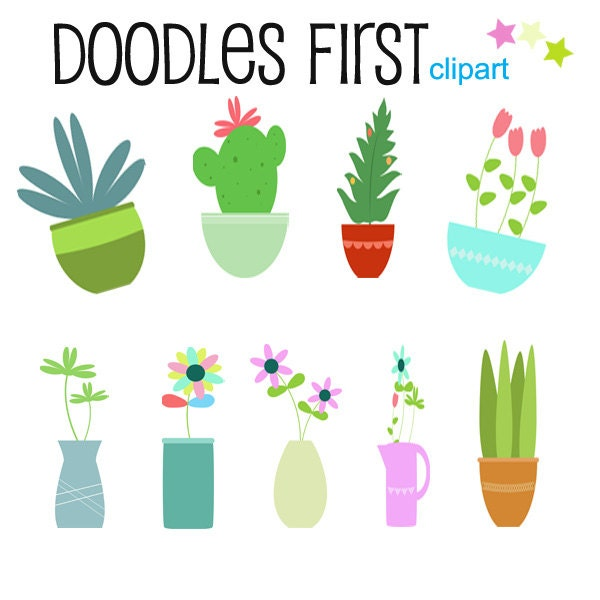 potted plants clipart digital clip art for scrapbooking card rh etsy com etsy clipart free etsy clip art just married bike