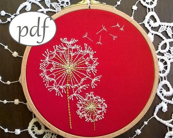 Hand embroidery pdf dandelion beginner needlepoint design hand embroidery pdf dandelion beginner needlepoint design modern embroidery pattern spring decor dt1010fo