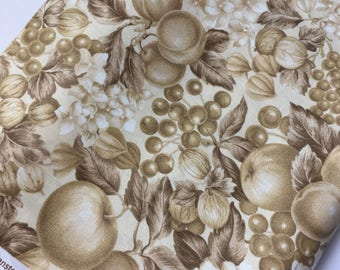 Cranston Print Works Fabric Sepia toned Fruit and Hydrangeas 113cm x 190cm