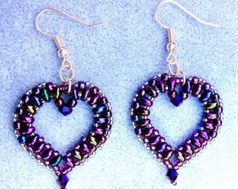 Purple Heart Earrings, Beaded Earrings, Gift for Her, Mothers Day Gift, Bridesmaid Jewellery, Purple Earrings, Heart Earrings, Hook Earrings