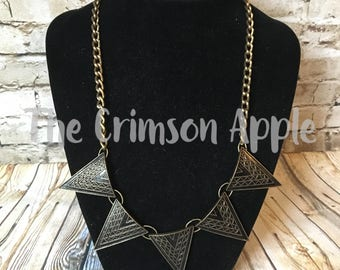 Black and Brass 5 Geometric Necklace