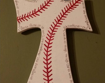 "I can do all things through Christ who strengthens me"" baseball cross"