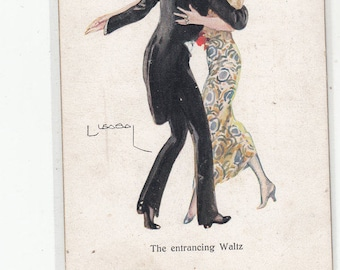 Artist Signed C 1920 Charming Couple Dances The Entrancing Waltz/Unused Back/ Front  Has Few Very Light Marks