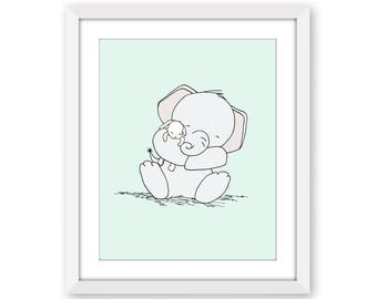Elephant Nursery Art -- Snuggles -- Elephant and Bunny --  Nursery Art Print -- Nursery Decor, Elephant Art -- Children Art -- Kids Wall Art