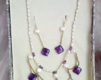 Victorian Renaissance Pearl Earrings Amethyst necklace
