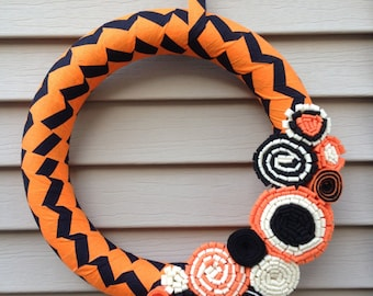 Halloween Wreath - Black and Orange Chevron Fabric with Felt Flowers - Halloween Wreath - Fall Wreath - Fabric Wreath - Felt Flower Wreath