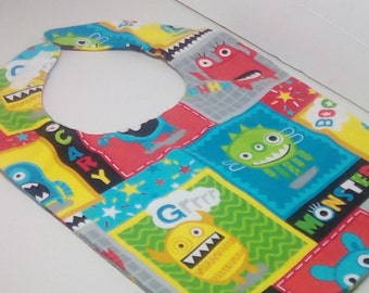 Baby bib/monsters/blue/green/red/yellow/grey/