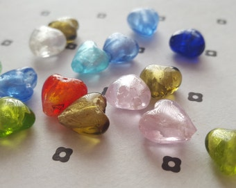 Mix of Lampwork Heart 13mm beads (16)