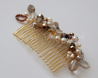 Decorative bridal hair comb crystal beads pearl wedding accessory